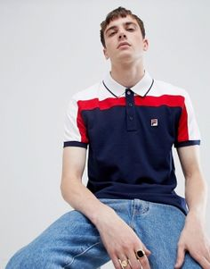 Find the best selection of Fila White Line Spencer Short Sleeved Polo Shirt In Navy. Shop today with free delivery and returns (Ts&Cs apply) with ASOS! Mens Polo T Shirts, Tennis Shirts, Gym Shirts, Short Sleeve Polo Shirts, Casual Shirts, Mens Fashion Blazer, Men's Fashion, Sport Fashion, Fashion Clothes