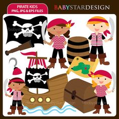 Pirate Kids Digital Clipart via Etsy