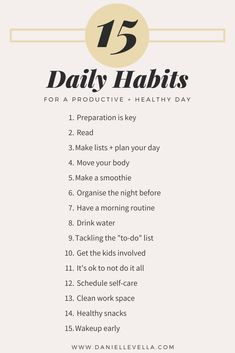 15 daily Tips and Habits For a Productive and Healthy Day