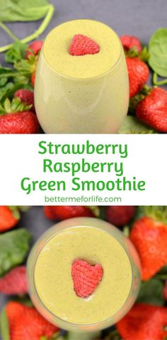 This strawberry raspberry green smoothie is simple, filling and delicious. Add some ginger for a little kick or some oats to thicken it. Find the recipe on BetterMeforLife.com