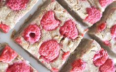 These raspberry banana bars are super easy, made with just five healthy ingredients, gluten-free, and totally fruit sweetened.
