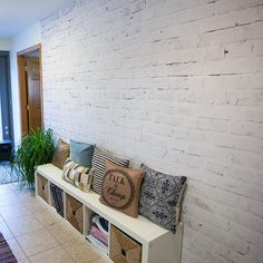 Faux-get everything you've heard about #wallpaper. Our removable Whitewashed Brick wallpaper mural is easy to install and looks like the real thing! We just put it up in our HQ. #wallsneedlove #diy