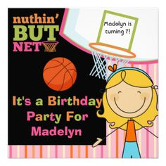 If she loves the sport of basketball and is having a basketball theme, sports theme, or a game of basketball for her birthday party she'll love these Basketball birthday party invitations that are easy to customize with all her birthday party specifics. Features colorful text in green, orange, and blue with a backboard and net, basketball, striped background, and a smiling blond stick figure girl! #birthday #customized #kids #basketball #sports #basketball #birthday #team #party #bball ...