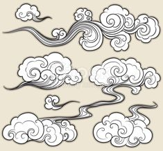 A set of cloud graphics in oriental style. A set of cloud graphics in oriental . - A set of cloud graphics in oriental style. A set of cloud graphics in oriental style. Cloud Drawing, Cloud Art, Wind Drawing, Smoke Drawing, Smoke Painting, Painting Clouds, Tattoo Oriental, Handpoked Tattoo, Muster Tattoos