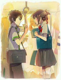 Taki và Mitsuha (Kimi no na wa) - Khi hai ta chung một nhà Otaku Anime, Manga Anime, Film Anime, Anime Art, Kimi No Na Wa, Me Me Me Anime, Anime Love, Watch Your Name, Mitsuha And Taki