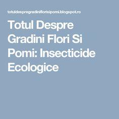 Totul Despre Gradini Flori Si Pomi: Insecticide Ecologice
