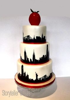 New York Theme Wedding Cake - Cake by Storyteller Cakes New York Party, Pretty Cakes, Beautiful Cakes, Amazing Cakes, Cake Design Inspiration, Wedding Cake Inspiration, Themed Wedding Cakes, Themed Cakes, Cupcakes