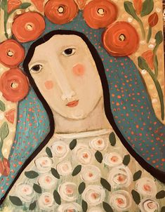 The Mexican Madonna Ii by Rose Walton Original Acrylic painting Virgin Mary Art, Angel Images, Madonna And Child, Art Icon, Religious Art, Fabric Scraps, Wood Art, Street Art, Illustration Art