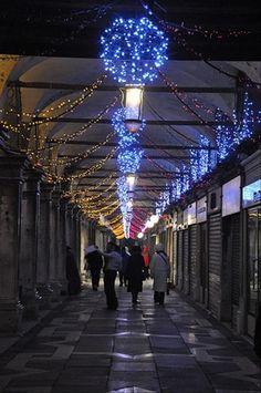 Christmas Lights in Venice near Rialto Bridge