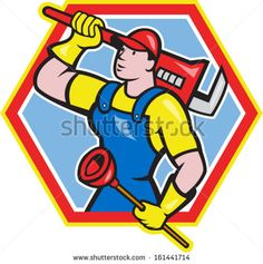 Illustration of a plumber holding carrying monkey wrench on shoulder and holding plunger done in cartoon style on isolated background set inside hexagon - stock vector #plumber #cartoon #illustration