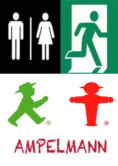 """3. Los pictogramas son signos que representan, de forma senzilla y esquematica, un objeto o idea con el objetivo de informar y/o señalizar.  En nuestra vida diaria nos encontramos con muchos de estos signos que nos simplifican la información (ejemplos: """"lavabos"""" y """"salida de emergencia""""). El Ampelmann es el simbolo típico de los semáforos de los pasos de peatones de la extinguida RDA. Tras la reunificación alemana, se convirtió en un popular icono presente en multitud de souvenirs… Communication, Popular, Image, Goal, Gift, Shape, Pedestrian Crossing, Pictogram, Bathroom Sinks"""