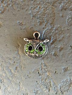 Peridot Rhinestone Owl Head Charms Set   QTY 8  (O-103) by CarolinaFindingsEtc on Etsy