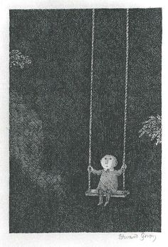 Edward Gorey's 1974 Graham Gallery Exhibition - Child on swing