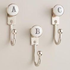 Cost Plus World Market Monogram Letter Hooks Bathroom Towel Hooks, Bathroom Kids, Kids Bath, Bathrooms, Master Bathroom, Monogram Towels, Monogram Letters, Initial Wall, Letter Wall