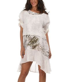 Look at this White & Beige Leaf Cape-Sleeve Linen Dress on #zulily today!