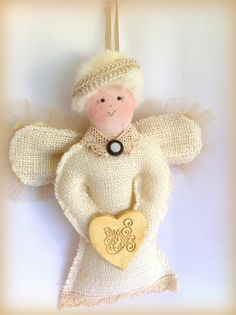 Angel Doll Burlap Cottage Chic Rustic Christmas by LollysCubbyHole, $24.00