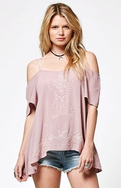 6f240cebf227a Embroidered Cold Shoulder Top Free Spirit