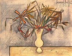 Bernard Buffet. Still Life of Flowers in a Vase