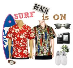 """Surf is On"" by shakatime on Polyvore featuring Timex, TradeMark, Bulgari, Vans, HomArt, Ray-Ban, men's fashion and menswear"