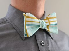 Men's Bow Tie in Mint and Gold- freestyle wedding groomsmen custom bowtie neck self tie green aqua metallic plaid white by LaurenPerkin on Etsy https://www.etsy.com/listing/220987894/mens-bow-tie-in-mint-and-gold-freestyle