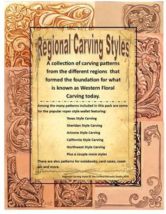 Regional Carving Style Patterns for Leather Carving by Jim Linnell (Leathercraft Designs) [DIGITAL D Leather Tooling Patterns, Leather Pattern, Pyrography Patterns, Leather Carving, Stamping Tools, Bound Book, California Style, Custom Leather, Leather Design