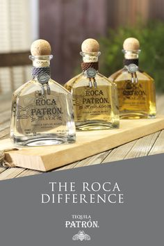 Handcrafted using the time-honored tahona process, crushing Weber Blue agave with a two-ton volcanic stone, Roca Patrón is a sophisticated and complex line of tequilas every connoisseur should experience. Patron Tequila, Craft Cocktails, Fun Drinks, Beverages, Soyeon, Mixed Drinks, Bartender, Whiskey Bottle, Ideas