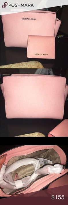 "Mk medium Selma saffiano leather w.wallet New with tags in great condition no flaws in a light pink color wallet is a lil darker not not much noticeable. Sells together not separately purse has strap as shown in picture there is no dust bag.  Both are new wallet and purse 10.5""x 6.5""x 3"". Strap has 21.5"" - 23.5"" drop. Michael Kors Bags Satchels"