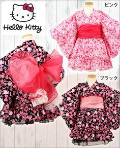 Hello Kitty fluffy3-piece set Yukata dress!