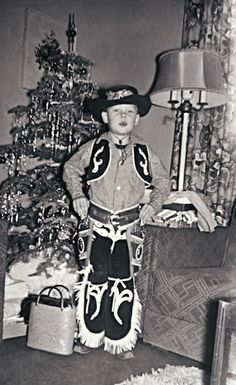 +~+~ Vintage Photograph ~+~+  Classic cowboy 'get up' and posing in front of the Christmas Tree picture.  ca. 1950