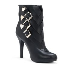 Justfab Booties Kato ($40) ❤ liked on Polyvore featuring shoes, boots, ankle booties, apparel & accessories, black, booties, high heel booties, platform boots, black high heel boots and black bootie