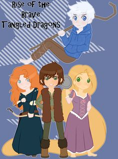 merida jack frost hiccup | ... : More Like Hiccup, Merida, Rapunzel and Jack Frost by ~AIBELIN