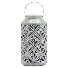 Ceramic Flower Ceramic Lantern, Grey