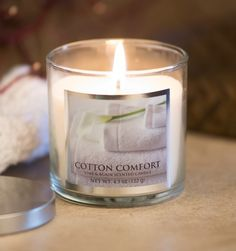 Gift Item | Cotton Comfort Candle. Just right for that special HOME! Send one to yourself and one to a friend, today! SOC ID 72492