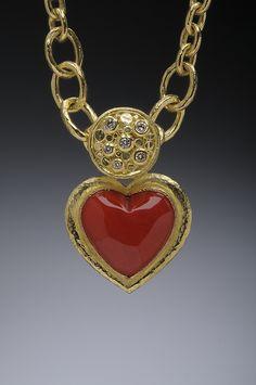 Coral, 18k Gold and Diamond Heart Pendant Hughes-Bosca Jewelry   Pendants & Brooches
