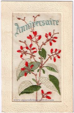 Boutons rouges. Women In France, Vintage Embroidery, Old Postcards, Vintage Cards, Special Day, Images, Greeting Cards, Textiles, Sewing