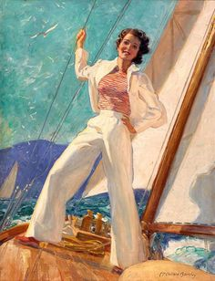 McClelland Barclay (1891–1943) was an American painter of pin-up art. Born in St. Louis in 1891, Barclay studied first at the Art Institute of Chicago, then later at the Art Students League in New York City, where he studied under George Bridgman and Thomas Fogarty (artist). By the age of 21, Barclay's work had been published in The Saturday Evening Post, Ladies' Home Journal, and Cosmopolitan.