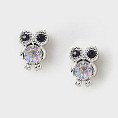 Crystal Belly Owl Stud Earrings