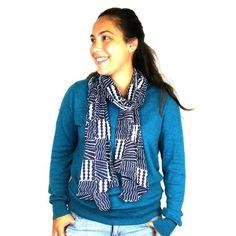 Black & White Geometric Cotton Scarf Handmade for women