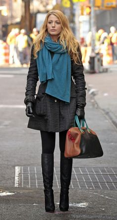 Long Boots With Black Jacket and Blue Scarf Click for more