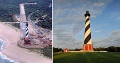 Nearly two decades after it experienced a change of scenery, the Cape Hatteras Lighthouse remains a Hatteras Island marvel. Monuments, San Antonio, Oak Island Lighthouse, Nc Lighthouses, Cape Hatteras Lighthouse, Army Corps Of Engineers, Hatteras Island, North Carolina Homes, Southern Girls