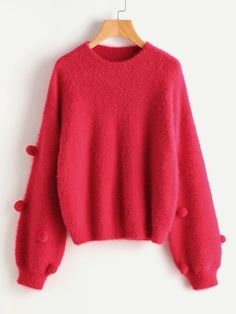 Red Round Neck Fluffy Pom Pom Detail Bishop Sleeve Jumper