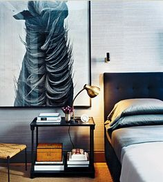 love the photo of the horse, brass lamp + bed