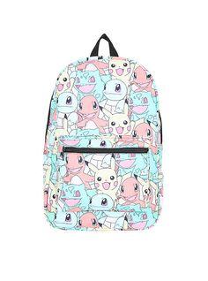 Pokemon Starters Stacked Print Backpack,