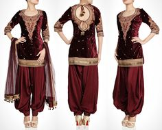 Maroon Velvet Salwar kameez (love the back! Punjabi Fashion, Asian Fashion, Female Fashion, Indian Attire, Indian Wear, Pakistani Outfits, Indian Outfits, South Indian Sarees, Punjabi Dress