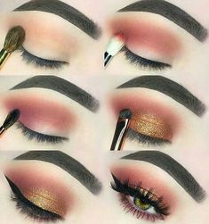 MAKEUP Makeup Maquillage marron doré What Happens During Your Wedding Reception Normally, a wedding Peach Eye Makeup, Eye Makeup Steps, Makeup Eye Looks, Brown Makeup, Natural Eye Makeup, Cute Makeup, Gorgeous Makeup, Skin Makeup, Eyeshadow Makeup