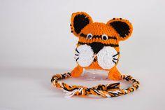 Crochet Animal Hats Tiger Hat Newborn Photo Props Crochet Tiger Mascot Hat Baby Shower Gifts Birthday Gifts Animal Beanies Handmade Hats