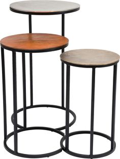 Set Of 3 Vintage Loft Round Side Tables