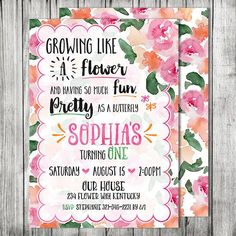 Butterfly Flower Garden Birthday Party Invite - GARDEN Party Birthday Invitation - First Birthday Invite - 5x7 JPG (Front and Back Design) by CherryBerryDesign on Etsy https://www.etsy.com/listing/244336579/butterfly-flower-garden-birthday-party