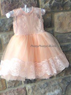 Peach Little Girls Dress- Peach Baby Girl Dress- Toddler Lace Dress – Pretty Pretty Lil Girls