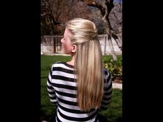 This is 3 beautiful versions of half-up, then half-up pony, then half-up bun.  All easy, all elegant.